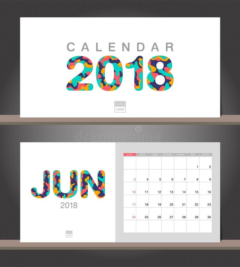 June 2018 Calendar Desk Calendar Modern Design Template With Pa