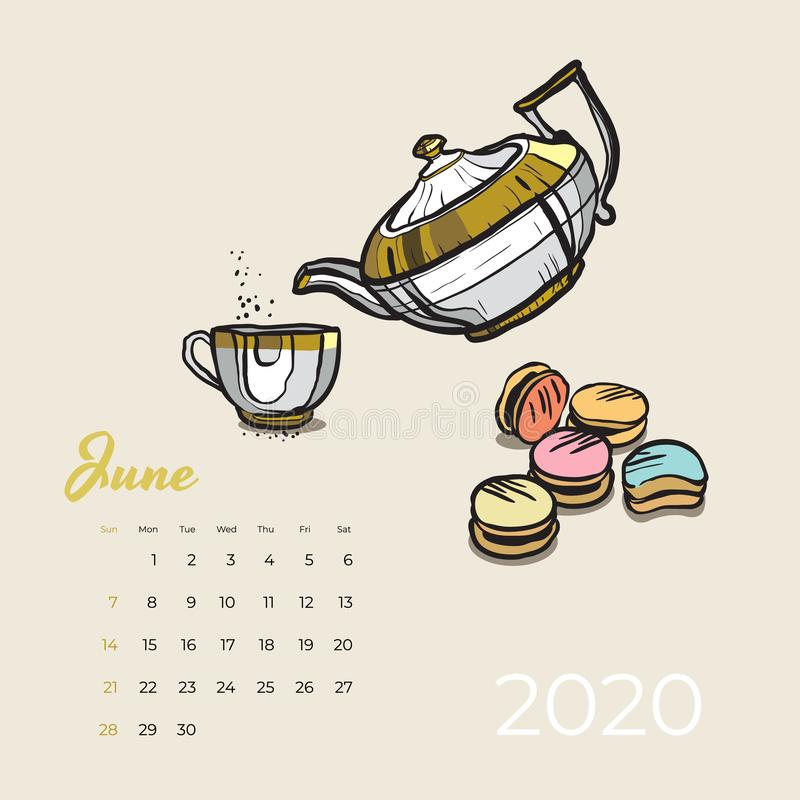 2020 June calendar food and tea art vector. Tea party sketched calendar. June page with white teapot, cup, macaroons. Hand drawn vector illustration for tea stock illustration