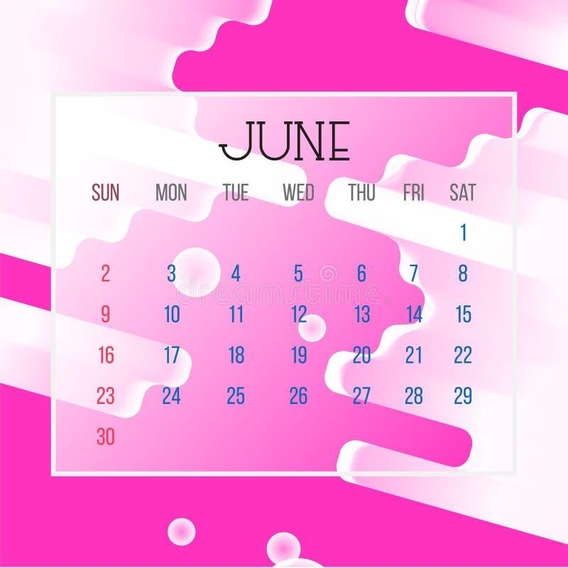 June 2019 Calendar Leaf - Illustration. Vector graphic page with abstract background pink color. June 2019 Calendar Leaf - Illustration. Vector graphic page vector illustration