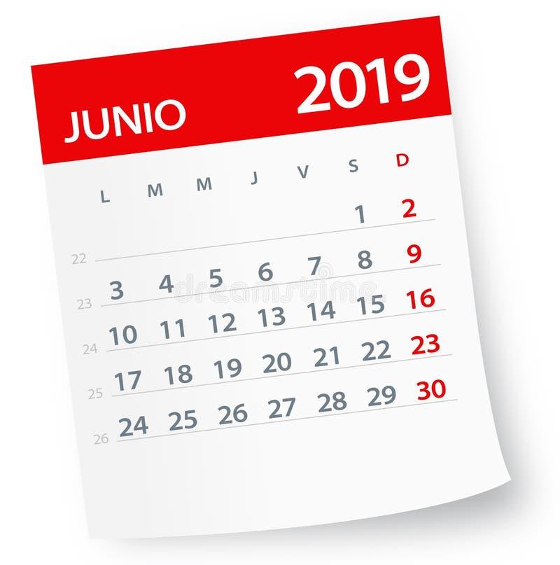 June 2019 Calendar Leaf - Vector Illustration. Spanish version. June 2019 Calendar Leaf - Illustration. Vector graphic page. Spanish version stock illustration