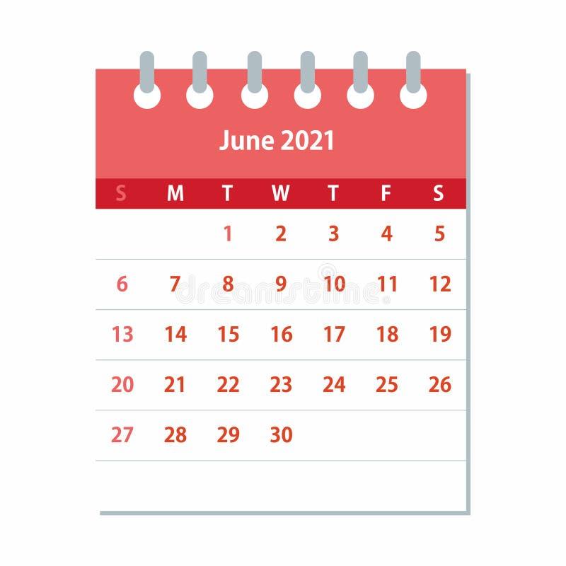June 2021 Calendar Leaf. Monthly Calendar Design Template ...