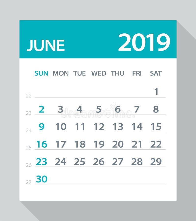 June 2019 Calendar Leaf - Vector Illustration. June 2019 Calendar Leaf - Illustration. Vector graphic page royalty free illustration