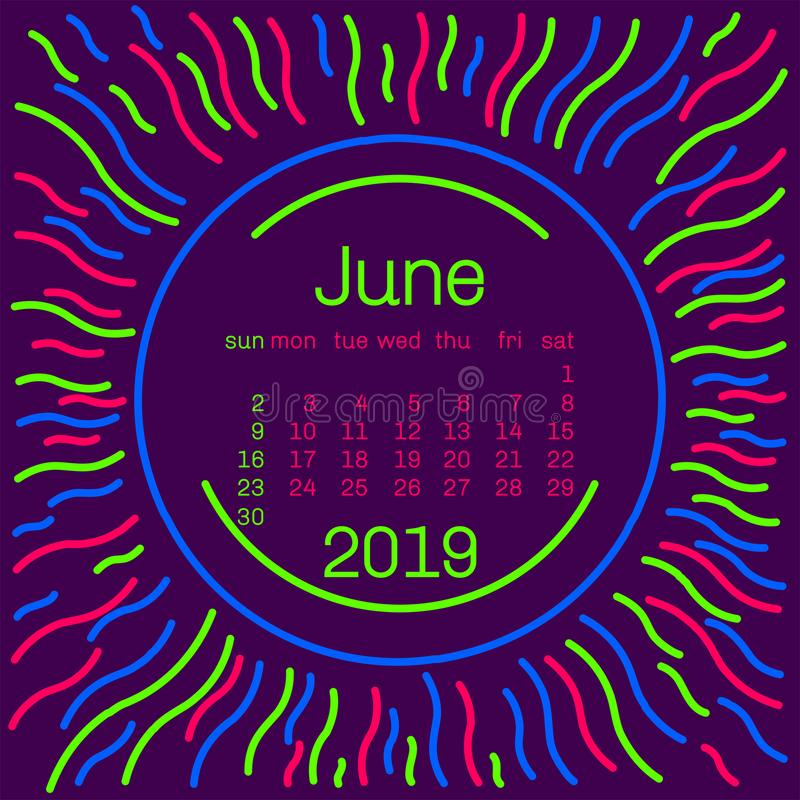 2019. June Calendar page in memphis style poster for concept typography design, flat color. Week starts on Sunday. Happy New year. Sun tribal pattern.Vector stock illustration