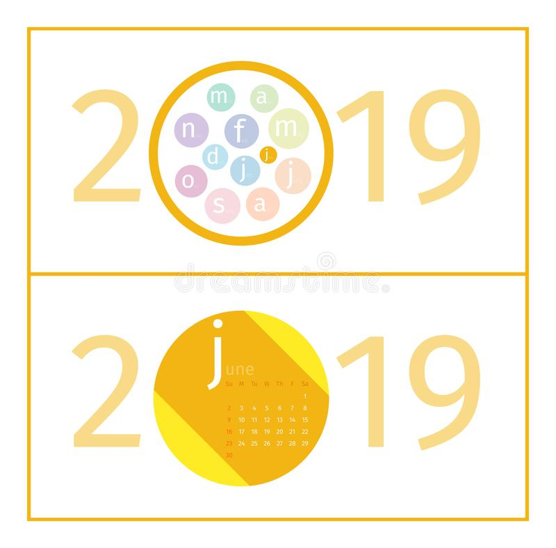 June Calendar Page Template 2019. Design of months in form of circles in the middle of number 2019. Name of month is abbreviated with increased first letter stock illustration