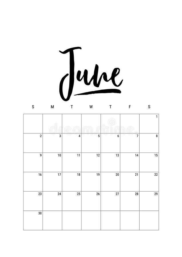 June. Calendar planner 2019, week starts on Sunday. Part of sets of 12 months Vector template print A4 ink hand drawn lettering vector illustration