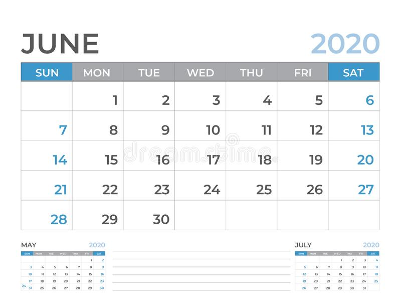 June 2020 Calendar template, Desk calendar layout  Size 8 x 6 inch, planner design, week starts on sunday, stationery design vector illustration