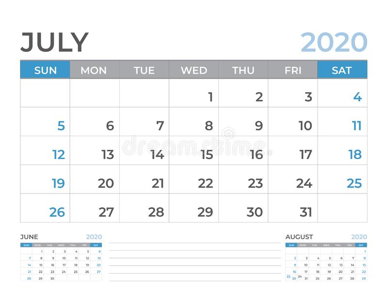 June 2020 Calendar template, Desk calendar layout  Size 8 x 6 inch, planner design, week starts on sunday, stationery design royalty free illustration