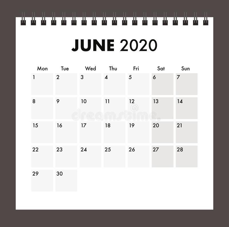 June 2020 calendar with wire band royalty free stock photos