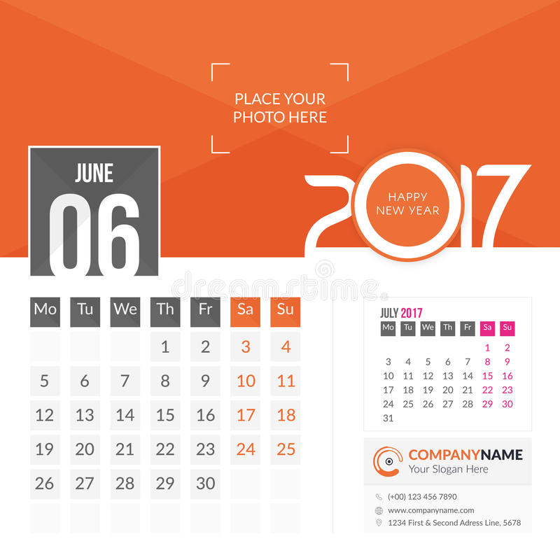 June 2017. Calendar 2017. June 2017. Calendar for 2017 Year. 2 Months on Page. Vector Design. Template with Place for Photo and Company Logo stock illustration