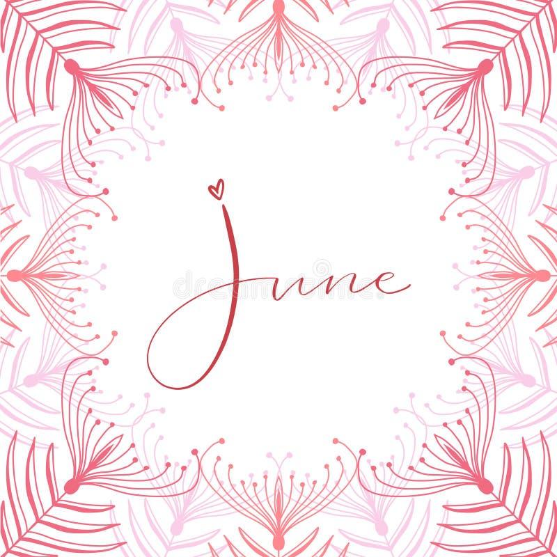 June calligraphy icon. Typographic print design. Calligraphic printable vector. June calligraphy icon. Typographic print design. Calligraphic vector vector illustration