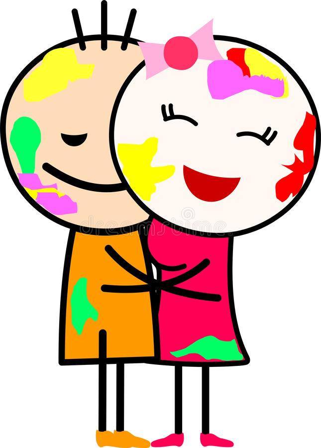 A cartoon love couple hugging and playing with colors. stock images