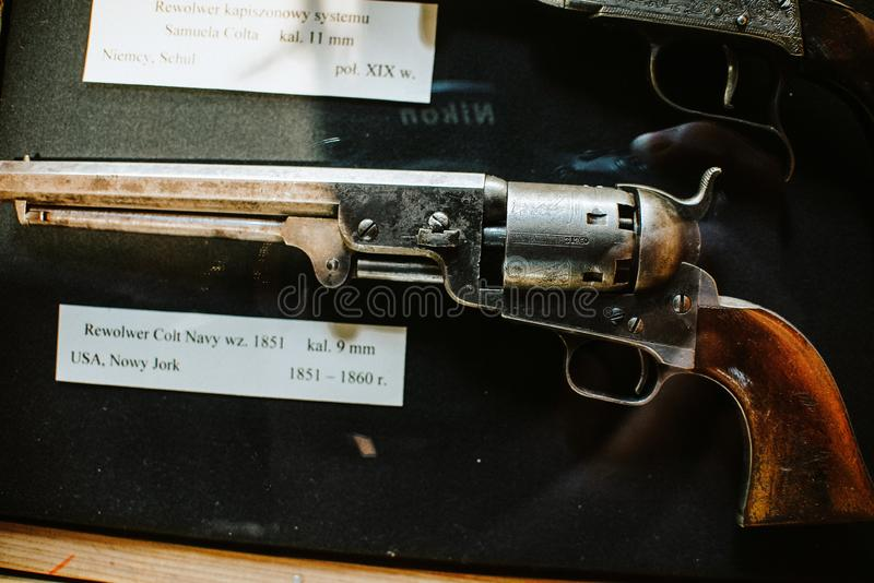 25-June-2017 close up on Revolver Colt Navy from USA 1851-1860 on weapon museum in Wroclaw, Poland royalty free stock photo