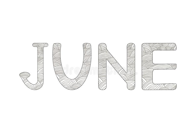 June. Creative hand drawn letters. Coloring page. Vector illustration royalty free illustration