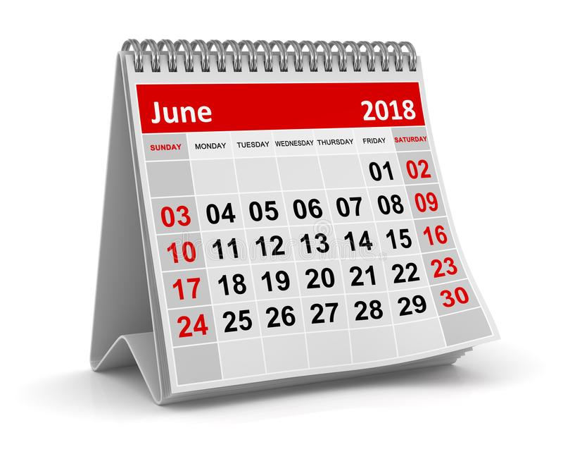 June 2018 - Calendar vector illustration