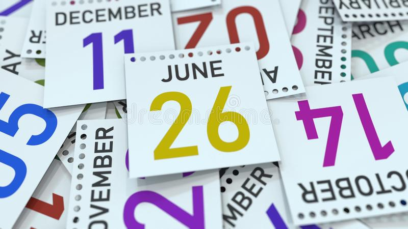 June 26 date on emphasized calendar page, 3D rendering. Calendar page with a specific date, 3D vector illustration