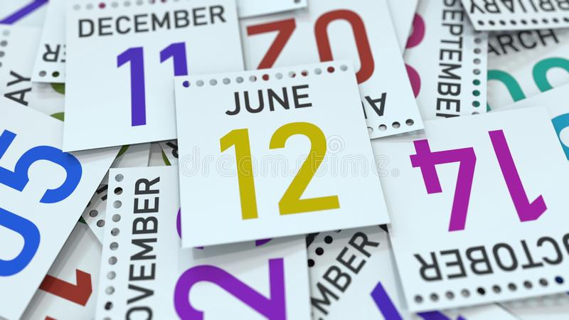 June 12 date on emphasized calendar page, 3D rendering. Calendar page with a specific date, 3D stock illustration