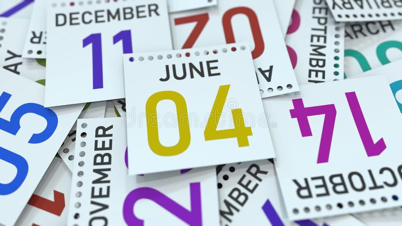 June 4 date on emphasized calendar page, 3D rendering. Calendar page with a specific date, 3D stock illustration