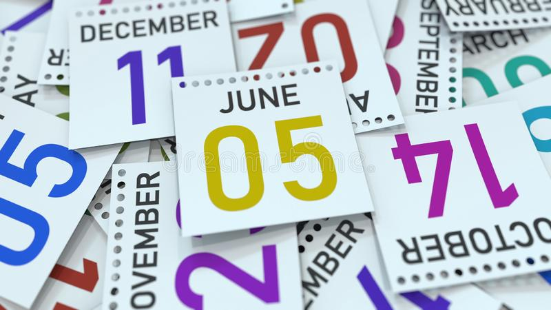 June 5 date on emphasized calendar page, 3D rendering. Calendar page with a specific date, 3D stock illustration