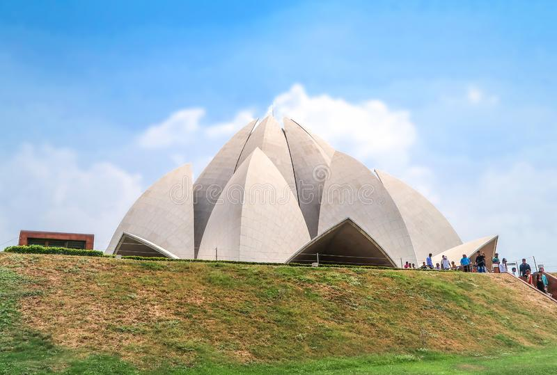 21 JUNE 2018, DELHI, INDIA. People visited Lotus Temple, New Delhi, India royalty free stock photos