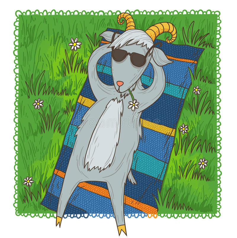 June goat. Lazy happy goat laying in the sun stock illustration