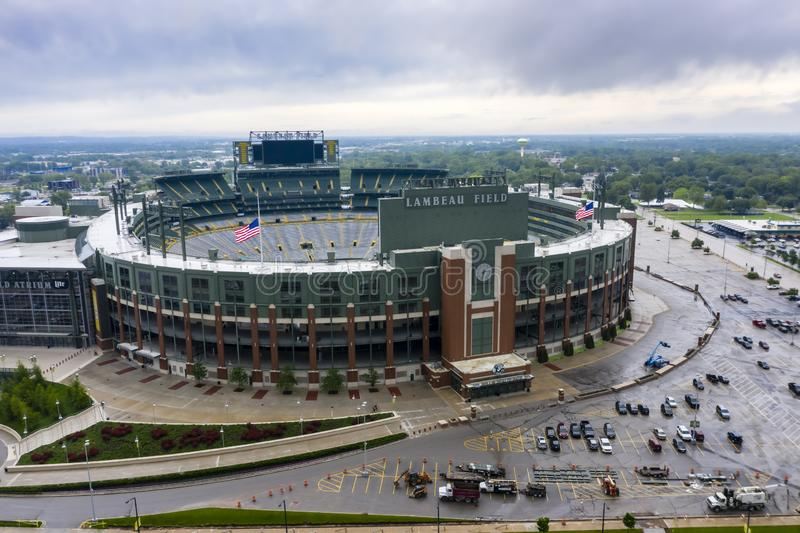 Historic Lambeau Field, Home of the Green Bay Pakers in Green Way, Wisconsin. June 25, 2019 - Green Bay, Wisconsin, USA: Historic Lambeau Field, home of the royalty free stock photography