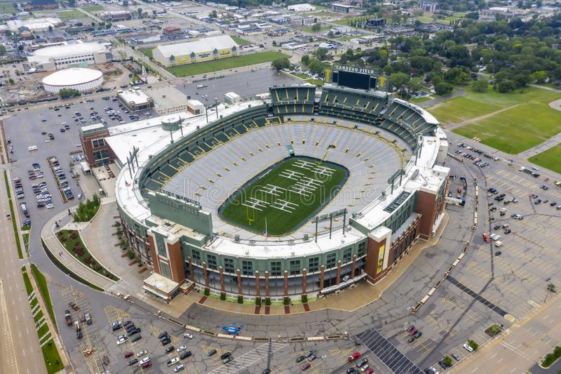 Historic Lambeau Field, Home of the Green Bay Pakers in Green Way, Wisconsin. June 25, 2019 - Green Bay, Wisconsin, USA: Historic Lambeau Field, home of the stock photos