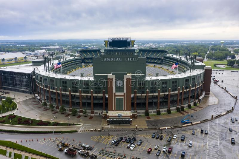 Historic Lambeau Field, Home of the Green Bay Pakers in Green Way, Wisconsin. June 25, 2019 - Green Bay, Wisconsin, USA: Historic Lambeau Field, home of the stock photo