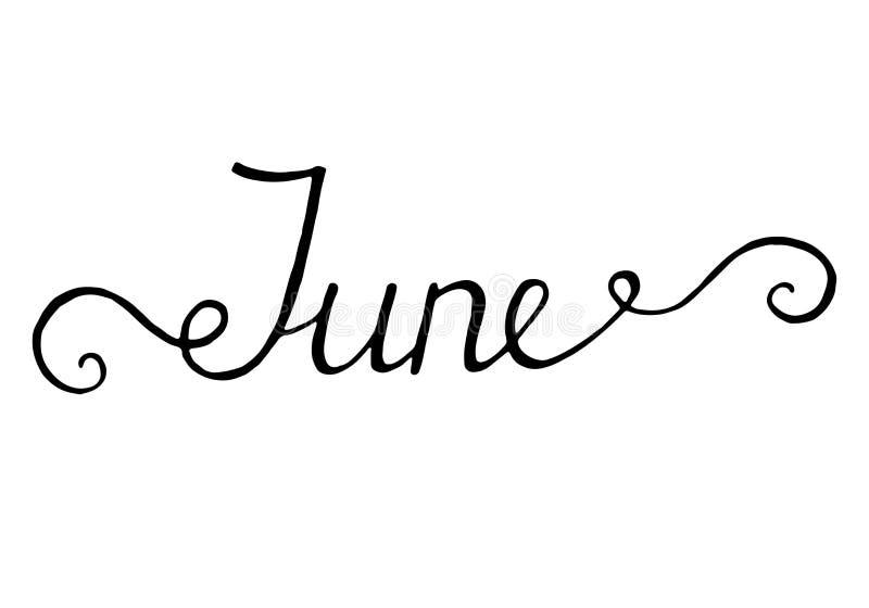 June lettering print summer minimalistic illustration