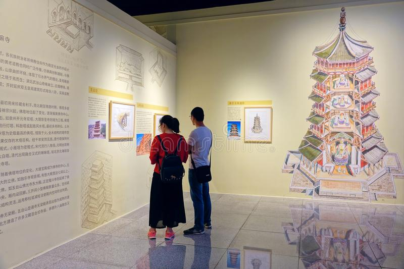 Art Exhibition. June 2018, the Liqianlang Hand-painted Art Exhibition of Ancient Buildings held in Shanxi Provincial Museum inChina stock photos