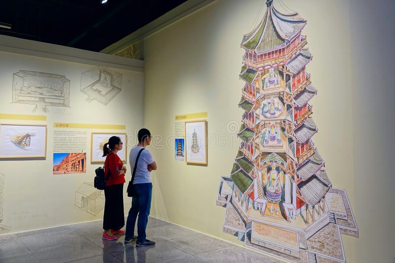 Art Exhibition. June 2018, the Liqianlang Hand-painted Art Exhibition of Ancient Buildings held in Shanxi Provincial Museum inChina stock images