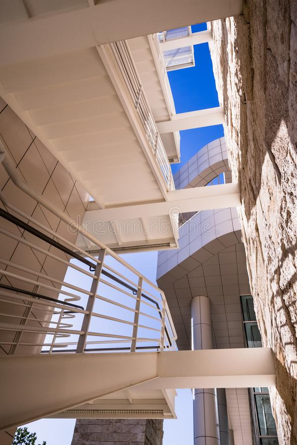 June 8, 2018 Los Angeles / CA / USA - Exterior staircase at the Getty Center, complex designed by architect Richard Meier royalty free stock photos