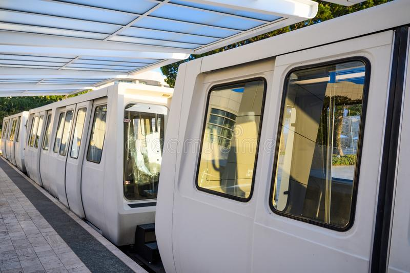 June 8, 2018 Los Angeles / CA / USA - The Getty Center Tram is an Otis Hovair monorail of the U.S. city of Los Angeles serving the. Getty Center; It is an stock image