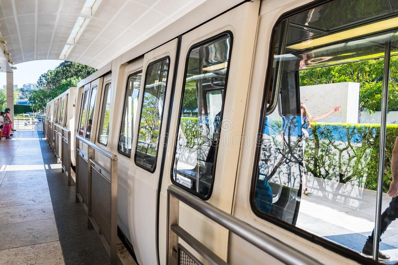 June 8, 2018 Los Angeles / CA / USA - The Getty Center Tram is an Otis Hovair monorail of the U.S. city of Los Angeles serving the. Getty Center; It is an stock images