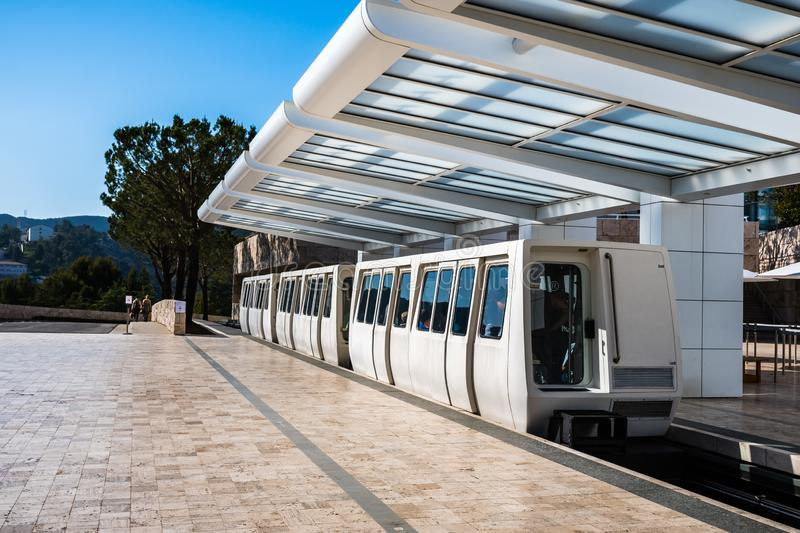 June 8, 2018 Los Angeles / CA / USA - The Getty Center Tram is an Otis Hovair monorail of the U.S. city of Los Angeles serving the. Getty Center; It is an stock photo