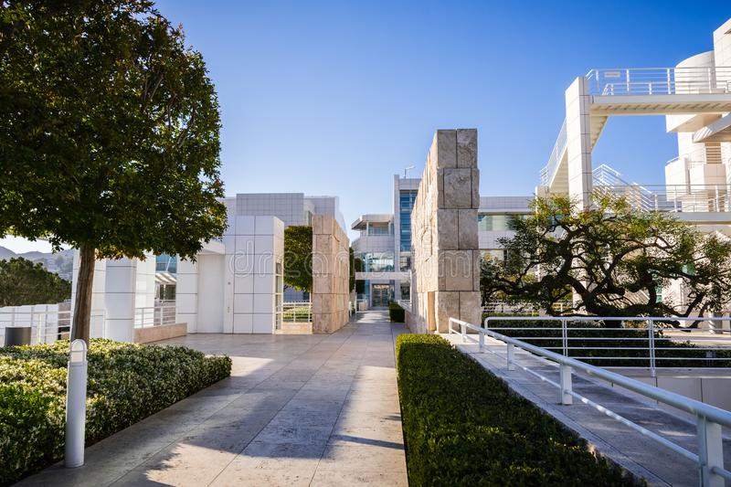 June 8, 2018 Los Angeles / CA / USA - Landscape at Getty Center, complex designed by architect Richard Meier royalty free stock photos