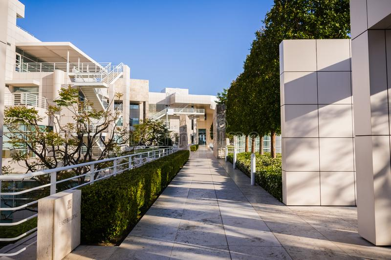 June 8, 2018 Los Angeles / CA / USA - Landscape at Getty Center, complex designed by architect Richard Meier royalty free stock images
