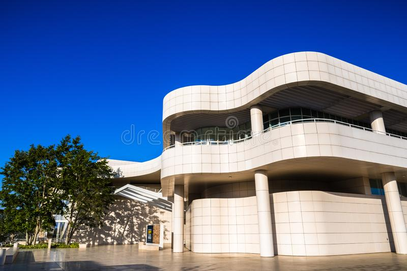 June 8, 2018 Los Angeles / CA / USA - The museum entrance hall at the Getty Center, designed by Richard Meier royalty free stock photo