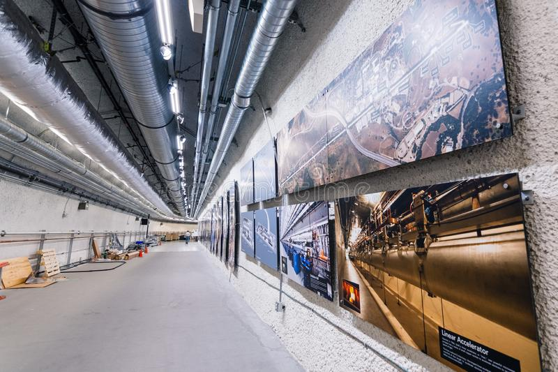 June 21, 2019 Menlo Park / CA / USA - Corridor descending to the beam level at the Linac Coherent Light Source / Far Experimental. Hall; SLAC National stock image