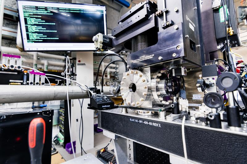 June 21, 2019 Menlo Park / CA / USA - The XCS Hutch located underground at the Linac Coherent Light Source / Far Experimental Hall. SLAC National Accelerator royalty free stock photo