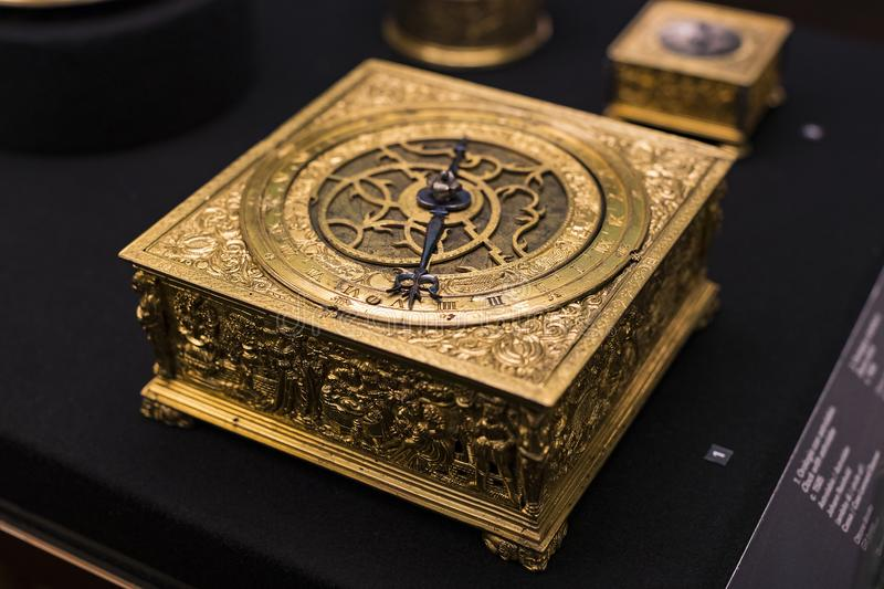 Museum of the Poldis Pezzoli, exposition of luxury from the collections of the nobility of Milan. 4 JUNE 2018, MILAN, ITALY: Museum of the Poldis Pezzoli royalty free stock photo