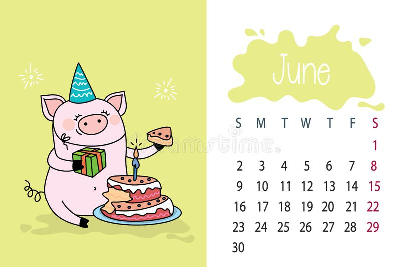 June month 2019 year calendar page with cute pink pig,funny pork. With cake,vector illustration stock illustration