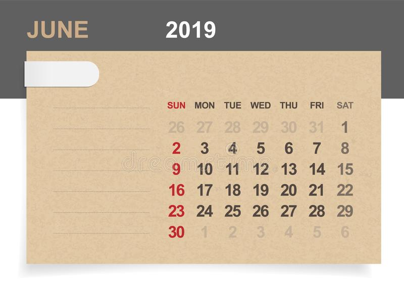 June 2019 - Monthly calendar on brown paper and wood background with area for note. royalty free illustration