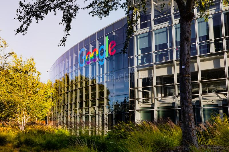 June 8, 2019 Mountain View / CA / USA - Google office building in the Company`s campus in Silicon Valley; The. `double o`s` of the logo are decorated in rainbow royalty free stock photos