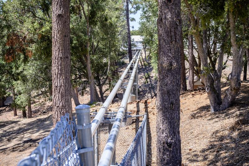 June 9, 2018 Mt Wilson / CA / USA - Light Pipes (Vacuum tubes) going to the Central Facility, part of the CHARA Array, Mt Wilson stock photo