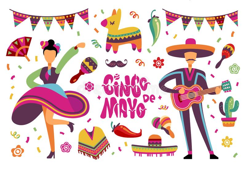 June party festival. Mexican or brazil fiesta elements with cartoon latino people. Vector set stock illustration