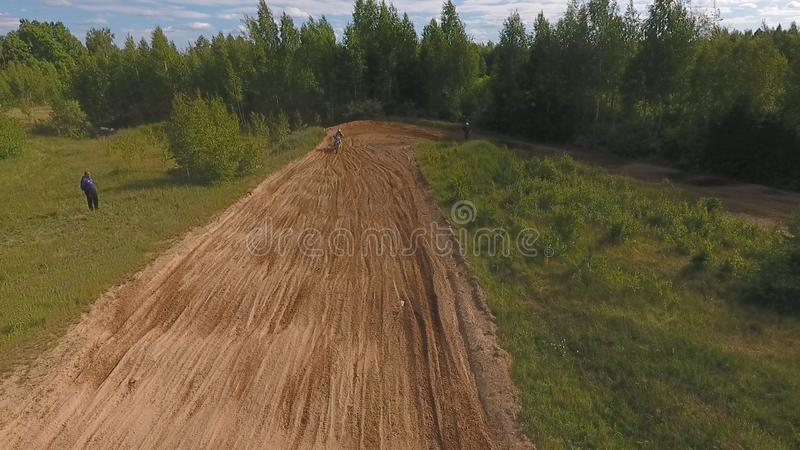 10 June 2018 Russian Federation, Bryansk region, Ivot - Extreme sports, cross-country motocross. Shooting with. Kvadrokoptera. Aerial and video in motion royalty free stock images