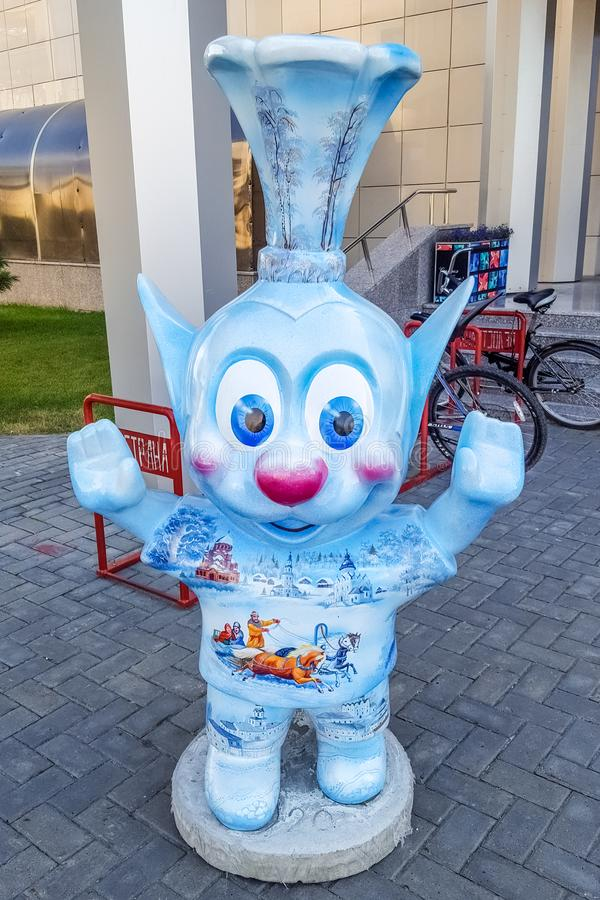 June 2019, Russian Federation, Tatarstan, Kazan. Funny creatures near the hotel `Riviera` - a popular hotel in Kazan. With its own water Park and entertainment royalty free stock image
