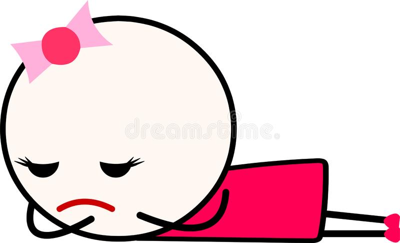 A sad cartoon girl laying down facing down while crying. stock image