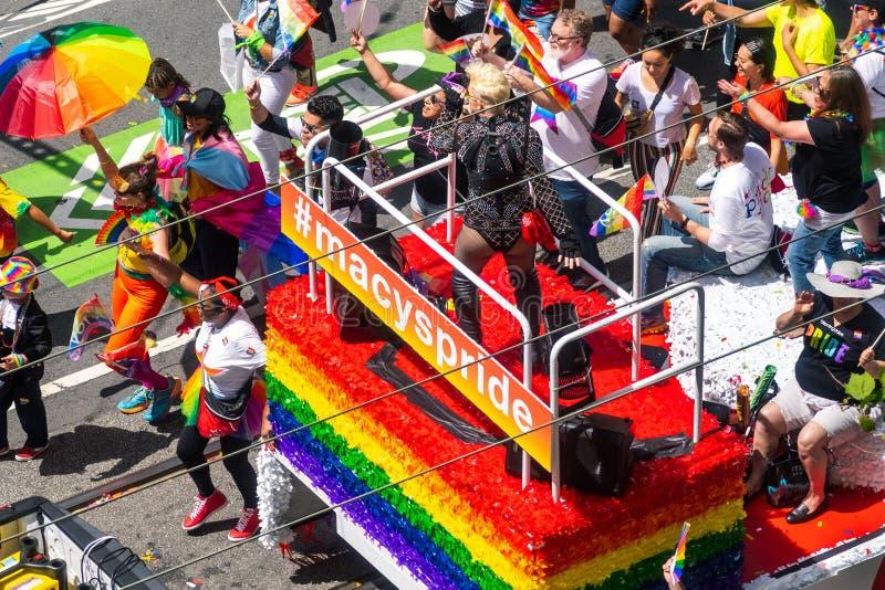 June 30, 2019 San Francisco / CA / USA - Macys caravan taking part at the SF Pride Parade on Market Street in downtown San royalty free stock image