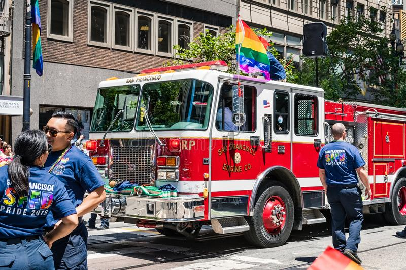 June 30, 2019 San Francisco / CA / USA - San Francisco Fire Department taking part at the SF Pride Parade on Market Street in stock photos